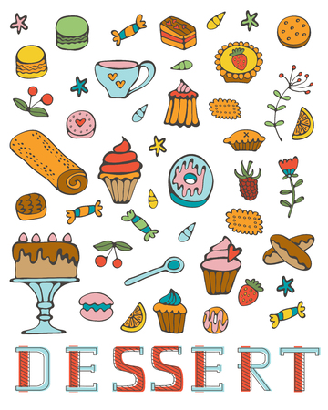 written: Colorful collection of sweet desserts.