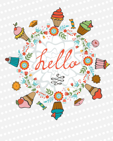 hello heart: Hello card with hand drawn desserts composed in a heart. vector illustration