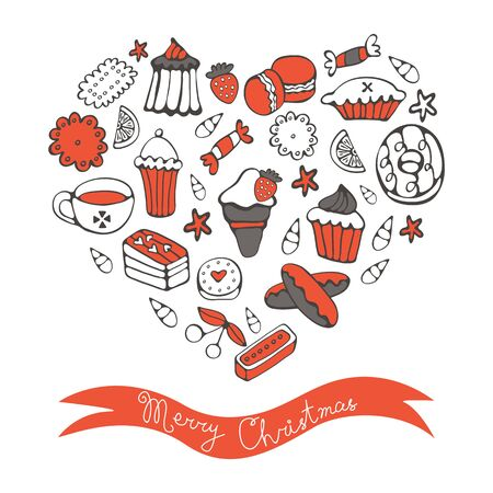 hello heart: Merry Christmas card with hand drawn desserts composed in a heart Illustration