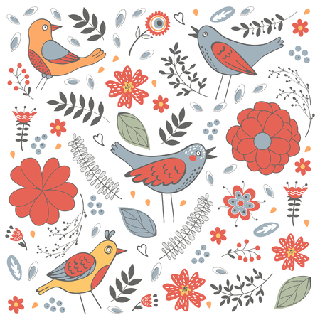 zoo youth: Elegant pattern with flowers and birds. Vector illustration Illustration