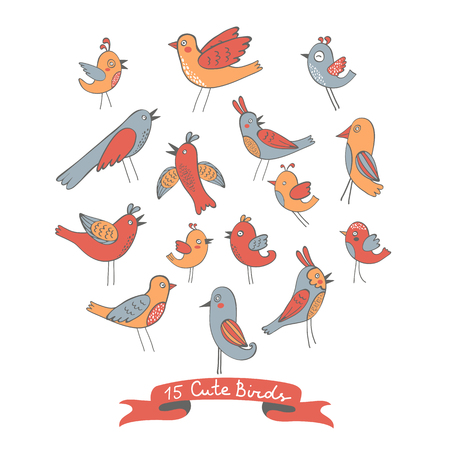 illustration collection: Cute collection of funny birds. vector illustration