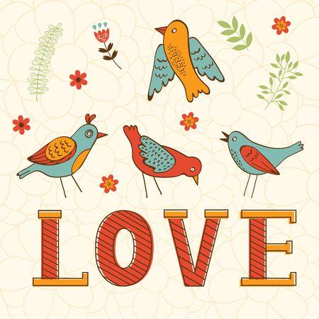 oiseau dessin: Belle carte d'amour avec des oiseaux au format vectoriel