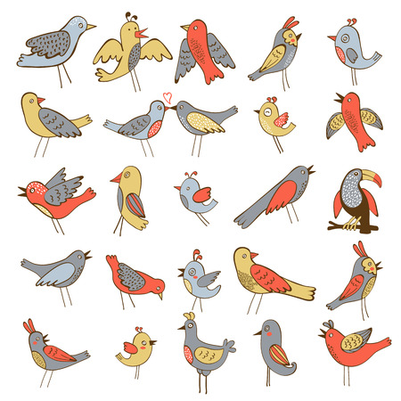 forest animals: Cute collection of funny birds. vector illustration