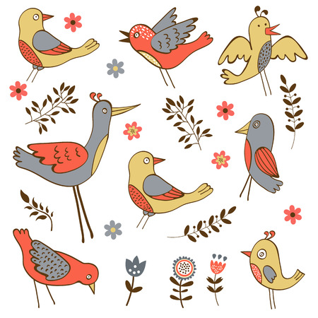 Cute collection of funny birds. vector illustration