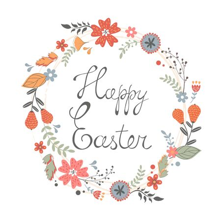 Beautiful happy Easter card with floral wreath. Vector illustration