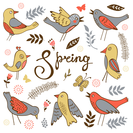 twigs: Spring collection with birds flowers and twigs. Vector illustration Illustration