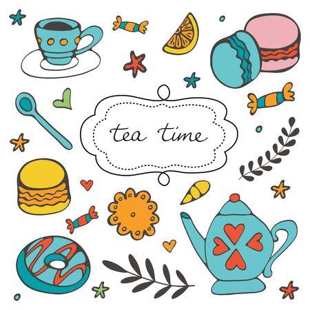 Beautiful hand drawn tea time set with sweet desserts. Vector illustration Ilustração Vetorial