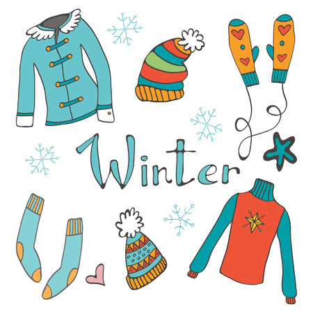 winter clothing: Cute hand drawn collection of winter clothing. Vector illustration