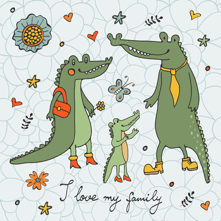 alligators: I love my family. Cute hand drawn card with alligators family Illustration