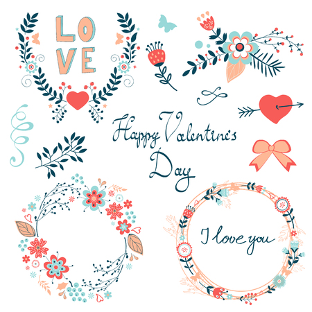 romatic: Happy Valentines day elegant graphic elements collection.Illustration in vector format Illustration
