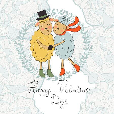sheeps: Happy valentines day with cute sheeps couple. vector illustration