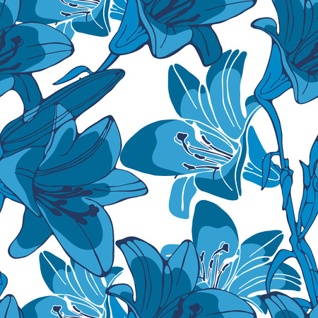 lilly: Elegant seamless lilly flowers pattern. Vector illustration Illustration