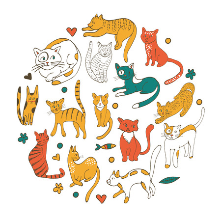 twigs: Cute colorful set of hand drawn cats with twigs flowers and leaves. Illustration in vector format