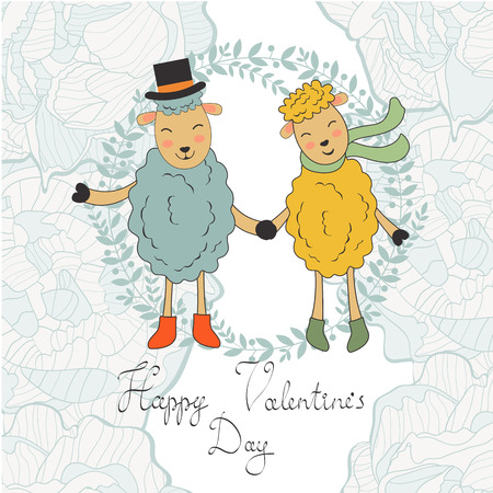 happy couple: Happy valentines day with cute sheeps couple. vector illustration