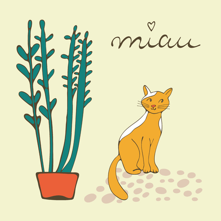 purring: Illustration of plant and a cat playing with ball of wool. Illustration in vector format Illustration