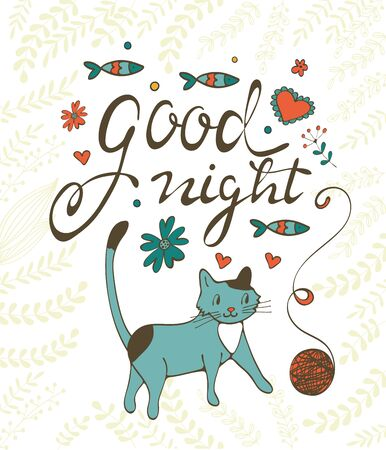 sardines: Good night concept card with cute cat flowers twigs and sardines. Illustration in vector format