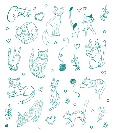 blue silhouettes: Set of hand drawn cats. Blue silhouettes on white. Illustration in vector format Illustration