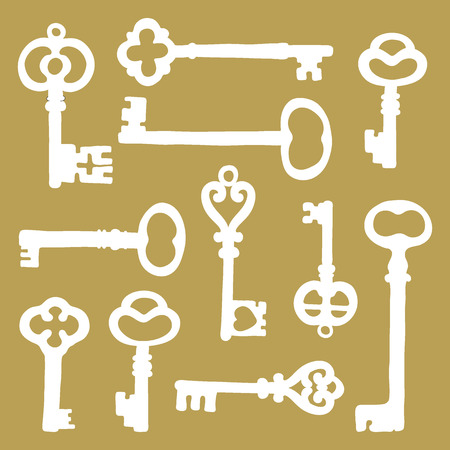 passkey: Hand drawn vintage keys collection. Vector illustration