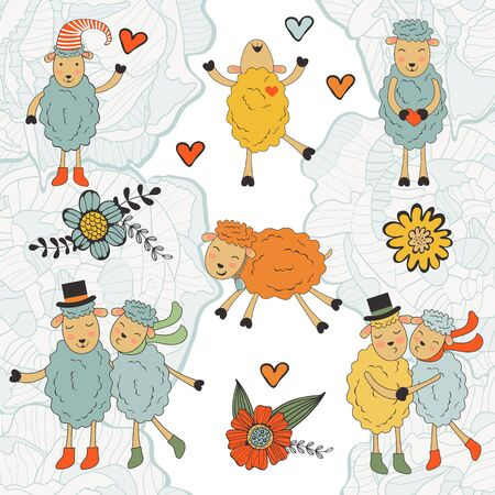 sheeps: Stunning collection of hand drawn sheeps. Illustration in vector format
