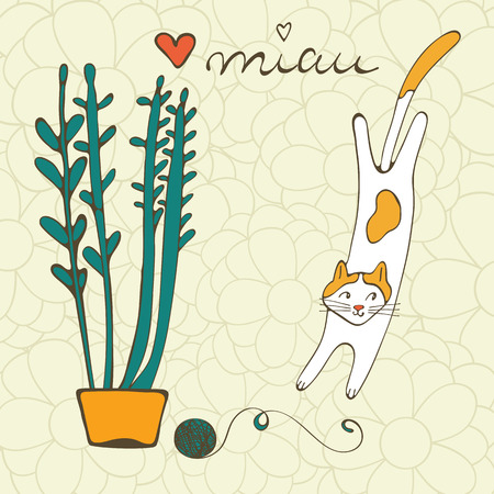 wiskers: Illustration of plant and a cat playing with ball of wool. Illustration in vector format Illustration