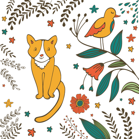 purring: Cat in spring. Illustration of a cute cat with bird, flowers and twigs