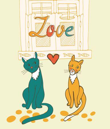 sentarse: Romántica gatos mayor ilustración en formato vectorial Vectores