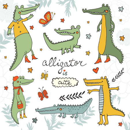 alligators: Alligator is cute. Colourful hand drawn set of crocodiles and alligators. Illustration in vector format