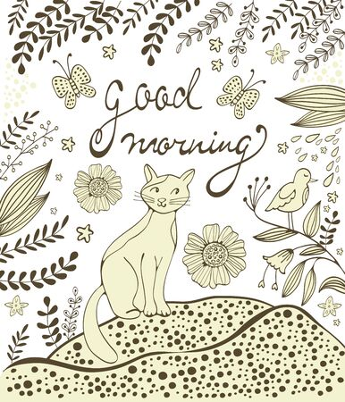 flower head: Good morning card with cute hand drawn cat sitting on a lawn. Illustration with flowers twigs and butterflies