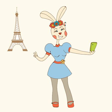 smart girl: Sexy rabbit girl taking Selfie Photo On Smart Phone. Vector illustration