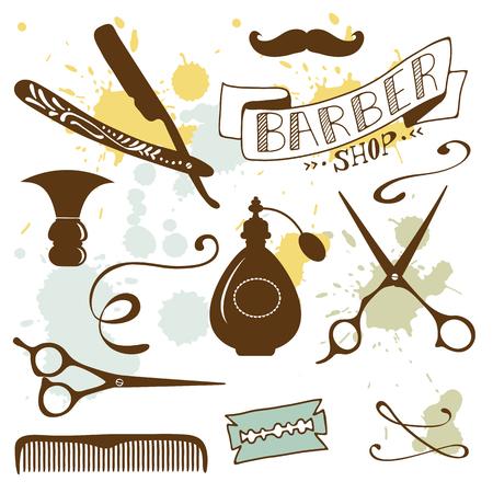 barbershop pole: Set of vintage barber shop and hairdresser elements. Illustration in vector format