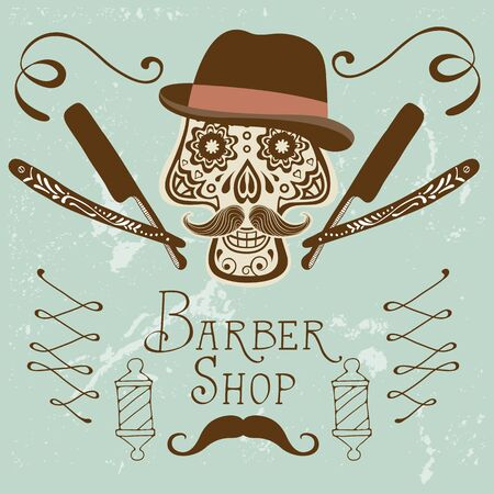 groomed: Skull with mustache and hat. Retro style hand drawn graphics for barber shop emblem. Illustration in vector format Illustration