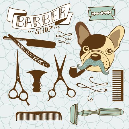 barbershop pole: Set of vintage barber shop and hairdresser graphics. Vector illustration