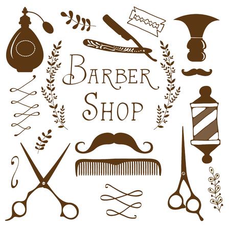 barbershop pole: Vintage barber shop objects collection. Illustration in vector format