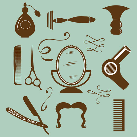 shaver: Set of vintage barber shop and hairdresser elements. Illustration in vector format