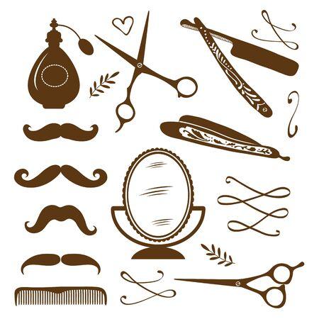 tijeras: peluquería de época objetos de colección. Ilustración en formato vectorial