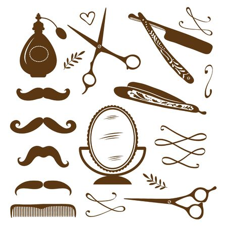 barber scissors: Vintage barber shop objects collection. Illustration in vector format