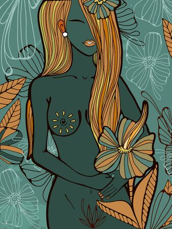 naked woman: Beautiful hand drawn illustration of a naked woman with flowers. Vector format illustration