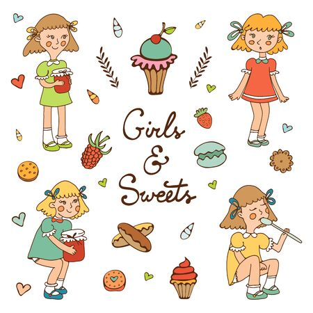 skecth: Illustration of little girls characters and various desserts and sweets. Illustraytion in vector format.