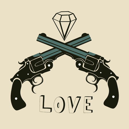 Classic revolvers and diamonds emblem. vector illustration Illustration