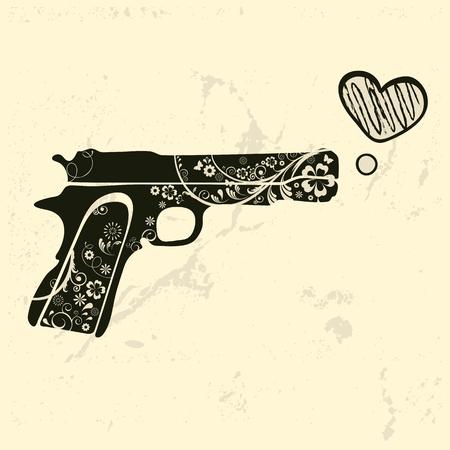 guns: Love gun. Vintage emblem with gun shooting a heart. vector illustration