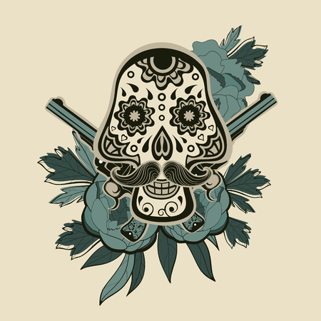 head shot: Hand drawn sugar skull with flowers and guns. vector iilustration Illustration