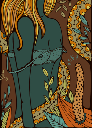 nudity: Beautiful woman getting undressed. Vector illustration
