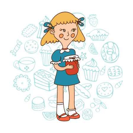 skecth: Cute girl holding a jar of jam. Illustration in vector format