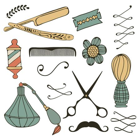 Vintage barber shop objects collection. Vector illustration Illustration