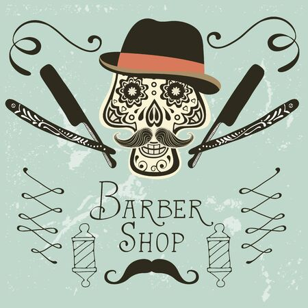 groomed: Skull with mustache and hat. Retro style hand drawn graphics for barber shop emblem Illustration