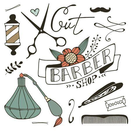 pole: Vintage barber shop objects collection. Vector illustration Illustration