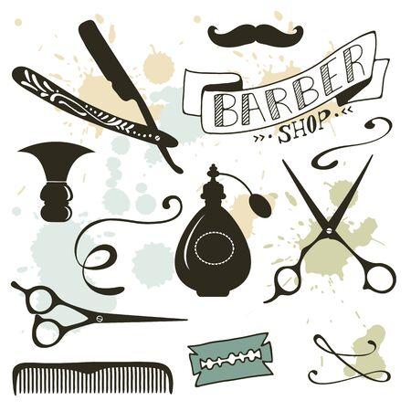 Vintage barber shop objects collection. Vector illustration Illustration