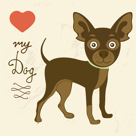Love my dog. Illustration of cute russian toy terrier