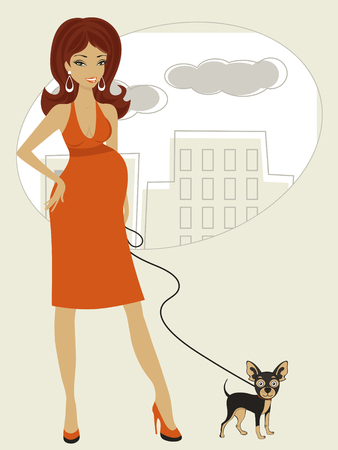 little dog: Illustration of Beautiful pregnant woman with little dog
