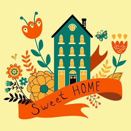sweet: Home sweet home concept illustartion with house, ribbon and flowers.